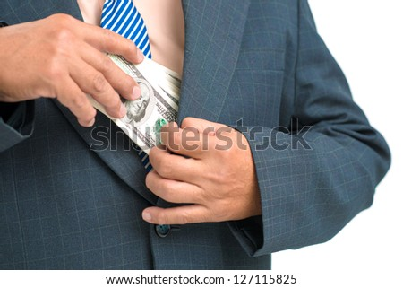 Close up of a businessman taking bribe