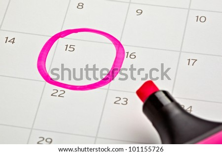 close up of a calendar and a marker - stock photo