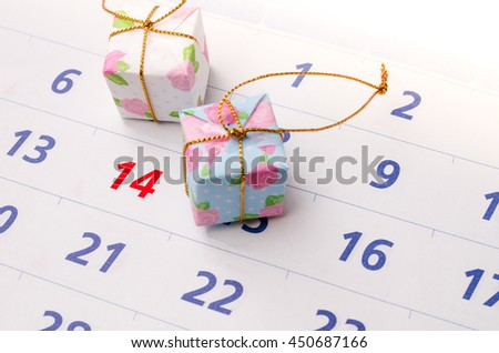 Close up of a calendar with focus on day 14 - stock photo