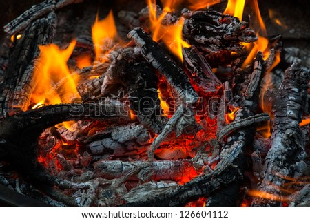 Close up of a campfire with orange flames and embers.