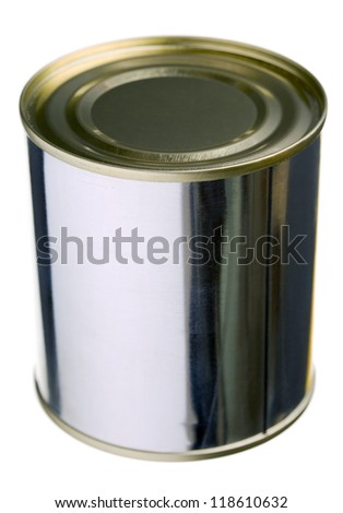 Close up of a can isolated on white