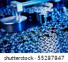 close up of a capacitor production with little depth of field - stock photo