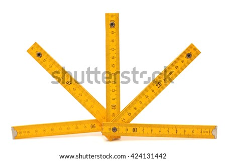close up of a carpentry ruler on white background with clipping path - stock photo