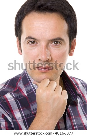close-up of a casual man portrait - isolated over a white background - stock photo