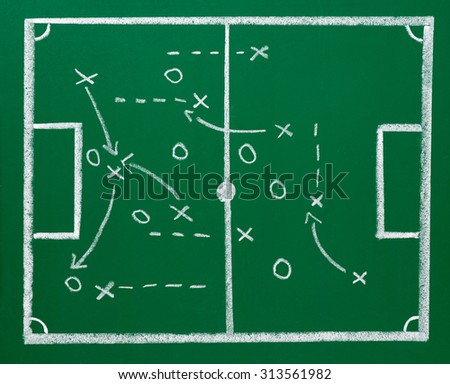 close up of a chalkboard with soccer strategy - stock photo