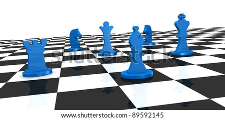 close up of a chess board with some pieces over it (3d render)
