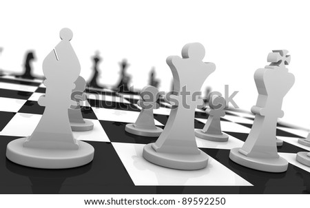 close up of a chess board with the pieces in starting position (3d render)