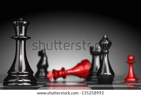 Close up of a chessboard with selective focus on the queen blur effect the red king is checkmate light effect a the background 3D render. - stock photo