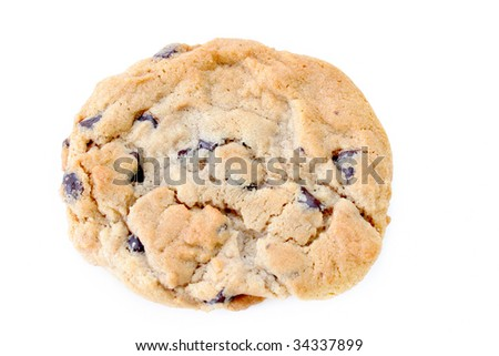 Close up of a chocolate chip cookie on a white background. - stock photo