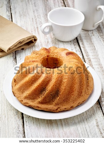 close up of a chocolate marble cake - stock photo