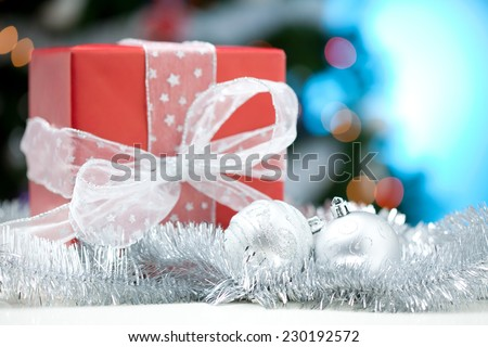 Close up of a Christmas decoration balls and gift box  - stock photo