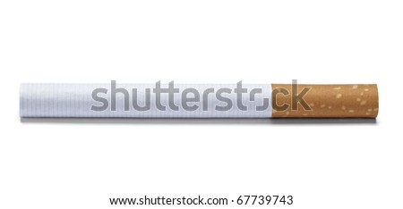 close up of a cigarette on white background with clipping path