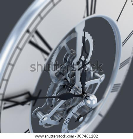 Close up of a clock with gears. 3d render image. - stock photo