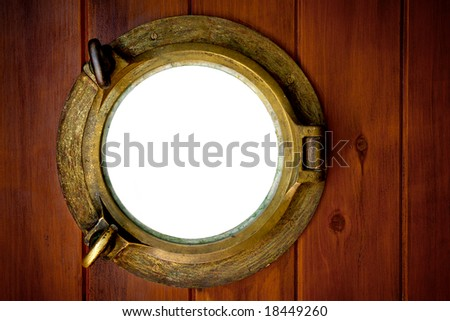 Close-up of a closed boat porthole with white background - stock photo