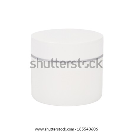 close up of a closed white beauty cream or yogurt on white background - stock photo