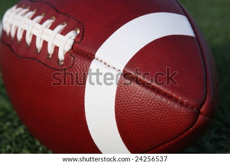 Close up of a collegiate american football