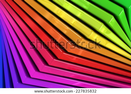 Close up of a coloful rainbow abstract background of a spiral stack of glass planes - stock photo