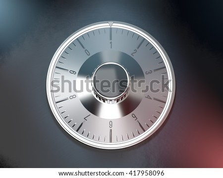 Close-up of a combination dial on a safe. 3D rendering