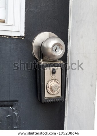 Close-up of a combination lock in a doorknob - stock photo