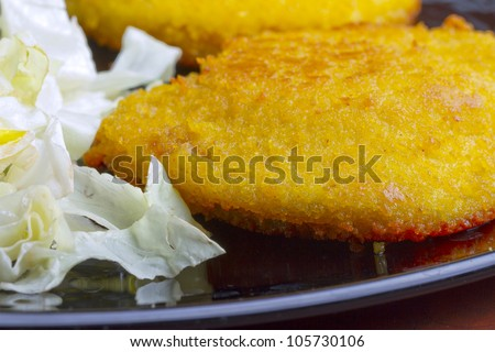 Close up of a cordon bleu near some salad - stock photo