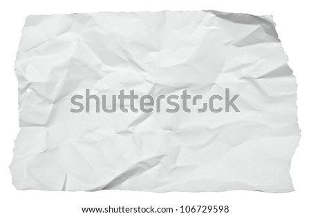 close up of  a crumpled piece of paper on white background