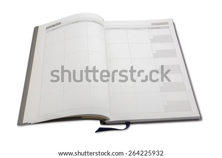 Close up of a diary open on the planner page. - stock photo