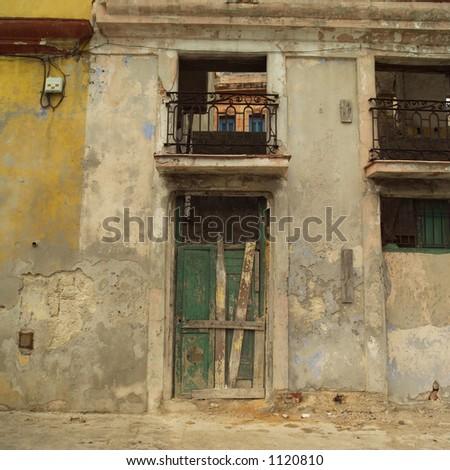 Close-up of a dilapidated building, Havana, Cuba - stock photo