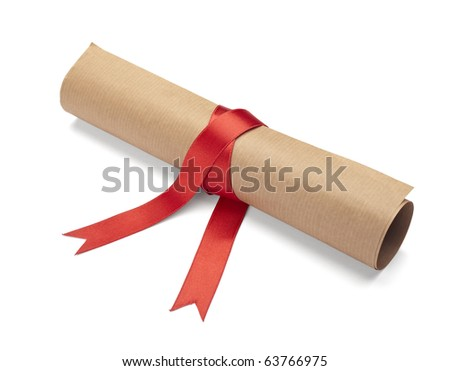 close up of  a diploma with red ribbon on white background  with clipping path - stock photo