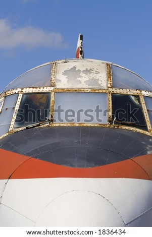 Close up of a disused airliner gradually decaying