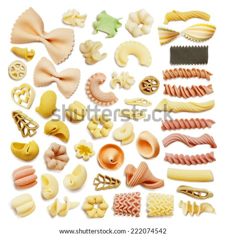 Close-up of a dried assorted italian pasta isolated on white - stock photo