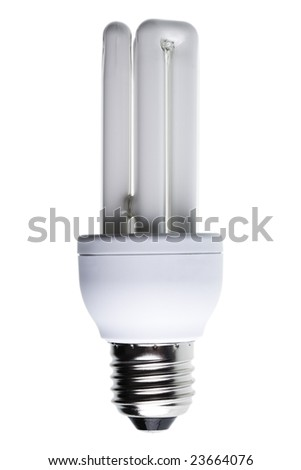 Close-up of a energy-saving light bulb isolated against white background - stock photo