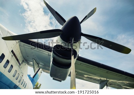 Close up of a engine propeller aircraft. - stock photo
