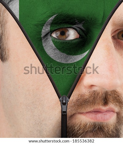 close-up of a face unzipping to show the flag of Pakistan - stock photo