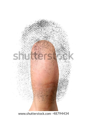 Close-up of a fingerprint and a thumb. Biometric identification, security concept. Isolated on white background - stock photo