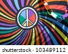 Close-up of a flag with the peace sign during the Long Beach Lesbian and Gay Pride Parade 2012 - stock photo