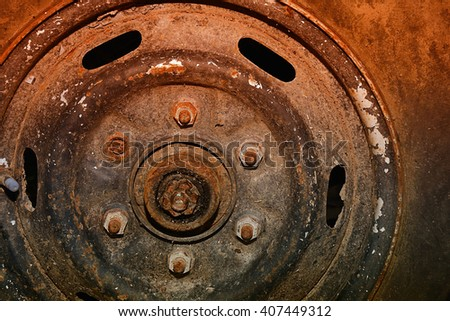 Close up of a flat tire, old classic cars. - stock photo