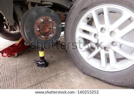 Close up of a flat tire on car.  - stock photo