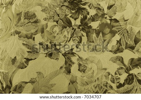 close up of a floral fabric in sepia - stock photo