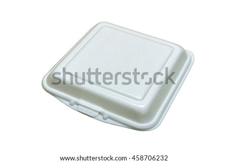 Close up of a foam food container on white background with clipp