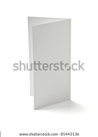 close up of  a folded card on white background  with clipping path - stock photo