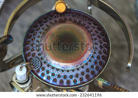 Close up of a gas stove burner  - stock photo