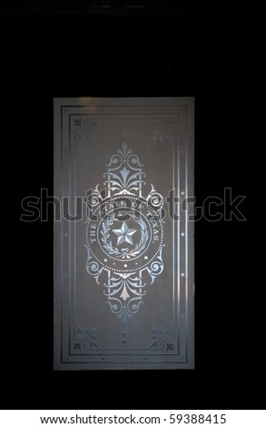 Close up of a glass door in Texas Capitol, Austin - stock photo