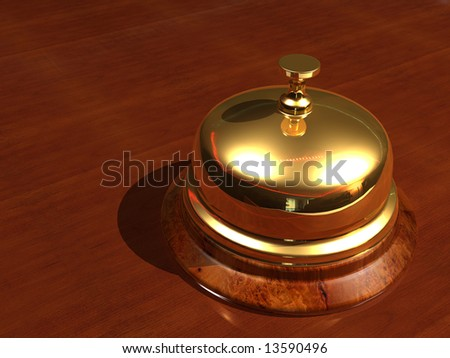 Close up of a golden bell - rendered in 3d - stock photo