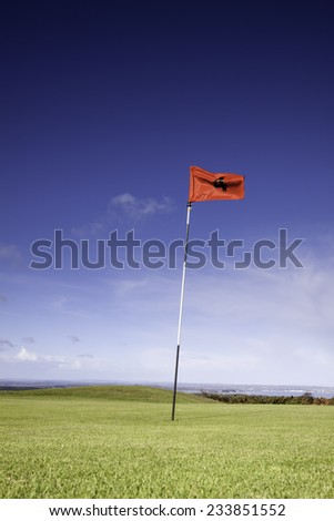 Close up of a golf flag and green on a bright sunny day - stock photo