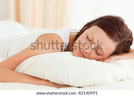 Close up of a gorgeous Woman sleeping in her bed in her bedroom