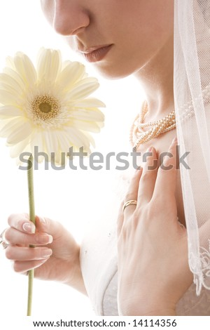 close up of a graceful bride smelling white flower - stock photo