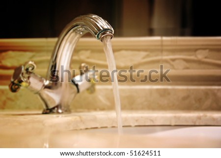 Close-up of a granit sink. - stock photo