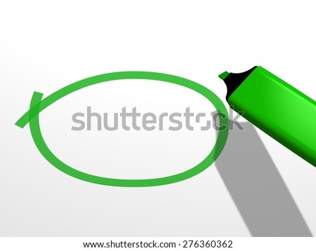 close-up of a green pen marker used to draw an empty circle on a white blanck background, which is to be completed with an undefined word  - stock photo