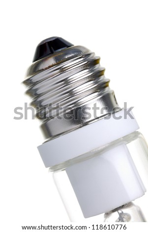 Close up of a halogen light bulb socket, isolated on white - stock photo