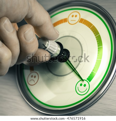 Close-up of a hand turning the knob of a customer feedback device to the highest position. Concept of good mood or happy consumer. Composite image between a photography and a 3D background.